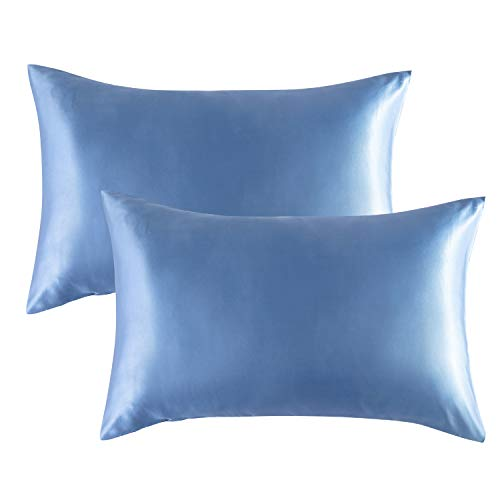 Bedsure Satin Pillowcases Standard Set of 2 – Airy Blue Pillow Cases for Hair and Skin 20×26 inches, Satin Pillow Covers…