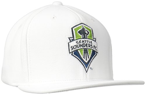 fan products of adidas MLS Seattle Sounders Fc Men's ZNE Flat Brim Snapback Cap, One Size, White