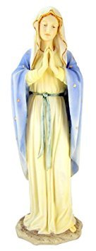 Blessed Virgin Mary Our Lady of Grace 11 3 4 Inch Light Color Stone Statue Religious Decoration