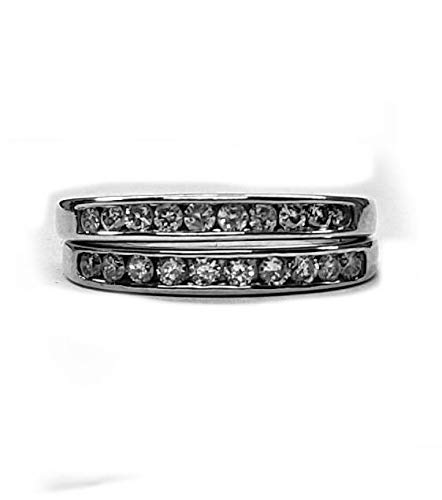 Diamond Wedding Band Set(Guards) 50pts. t.w. Channel Set in 14kt.White Gold (Invisible Set Bridal Diamond)