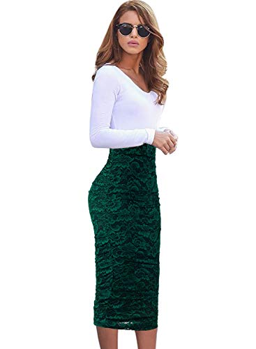 VFSHOW Womens Elegant Green Floral Lace Ruched Ruffle High Waist Work Casual Pencil Midi Mid-Calf Skirt 2381 GRN S