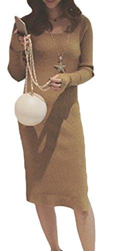Jaycargogo À Long Col Ras Du Cou Femme Manches Couleur Unie Tricot Robe Coupe Slim 1
