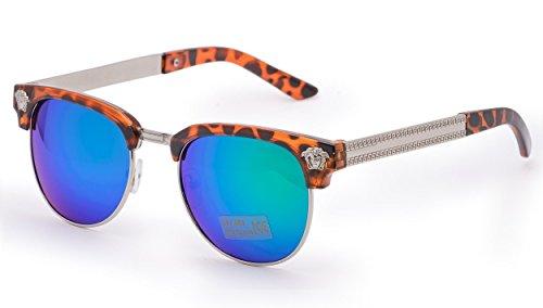 NEW Fashion Sonnenbrille UNISEX (Damen Herren) Retro Spiegel Aviator Mirror Round Brille SUNGLASSES (Retro mirror blue)