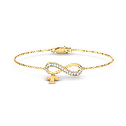 14K Or jaune, 0.244CT TW Round-cut-diamond (Ij  SI) Identification-bracelets