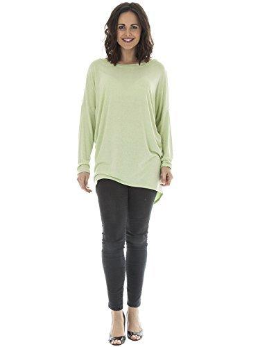 Fashions® Para Neon Top Lagenlook Plain Murciélago Talla Con Love Mujer De Mangas Italiana Green Única Light My fwCW4q5