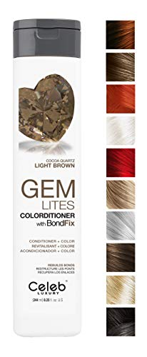 Celeb Luxury Gem Lites Colorditioner: Cocoa Quartz Light Brown Hair Color Depositing Conditioner, BondFix Bond Rebuilder, 10 Traditional Colors, Stops Fade. Condition + Color, Cruelty-Free, 100% Vegan