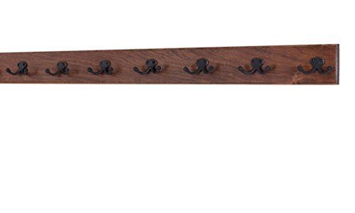 Wall Chr Coat Mounted - Solid Cherry Wall Mounted Coat Rack - Oil Rubbed Bronze Double Style Coat Hooks - Made in the USA (Mahogany, (36