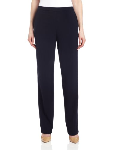 Dress Pants Blue Navy Slacks (Briggs New York Women's Pull On Dress Pant Average Length & Short Length, Navy, 16)