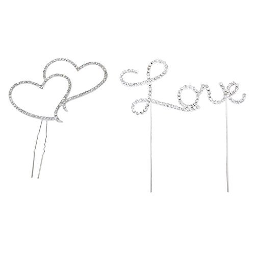 yueton Pack of 2 Cake Topper, Rhinestone Crystal Double Heart Love Cake Decoration Cake Top Topper Wedding Party Aniversary Cake Decor Accessories