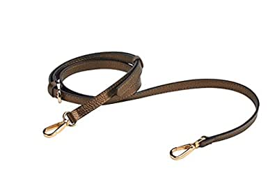 "LIVE UP Antique Brass Full Grain Leather Adjustable Replacement Cross Body Purse Strap Handbag Bag Wallet, 1/2"" Width, Adjustable Length 43""-51"",Brass Tone (Gold Tone) Hardware Buckles"