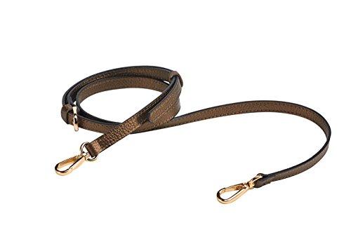 "LIVE UP Antique Brass Full Grain Leather Adjustable Replacement Cross Body Purse Strap Handbag Bag Wallet, 1/2"" Width, Adjustable Length 43""-51"",Brass Tone (Gold Tone) Hardware Buckles"