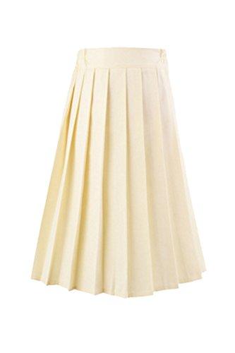 Jupe Les Mini Jaune Taille L'cole Le Uniformes De Femmes Solide De Plisse Haute wqTTOrYX