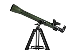 "Celestron National Park Foundation ExploraScope 60AZ 2.4"" f/12 Alt-Az Refractor Telescope with Anti-Reflection Coated Optics, Olive/Black"