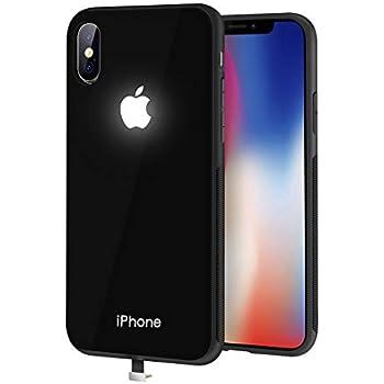 yacn iPhone Xs Max Cases Black Led Logo Light iPhone Case Glowing Light Up Logo Case Illuminate Cover (Glass Black, i-Xs Max)