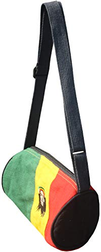 Full Funk Hemp Tube Shoulder Bag with Rasta Colours and Bob Marley Rainbow, Medium - 7 inch