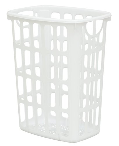 United Solutions LN0205 Two Bushel White AIRitOUT Laundry Hamper -2 Bushel White Hamper with Pass Through Handles Designed for Maximum Airflow (Tall Plastic Laundry Hamper)