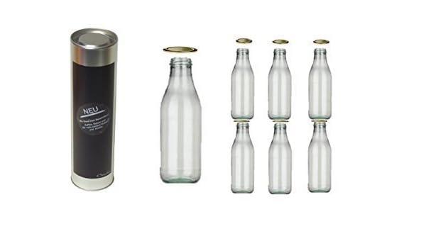 6 vacías Botellas de leche con cierre 1l Litros Botella de leche Cristal de Conny Clever + un Caja de regalo se puede escribir para Botellas de vino y más ...