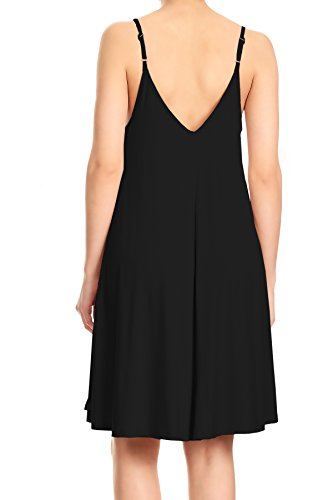 Womens Kaci Sun Black Detail Flowy Strap Adjustable Spaghetti Cami Anna Dress with Lace Ux5dFqw0w