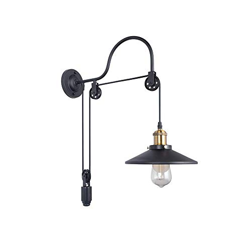 Retro Industrial Adjustable Gooseneck Wall Mounted Lamp Pulley Wall Lamp Wheel Wall Light with 1 Light