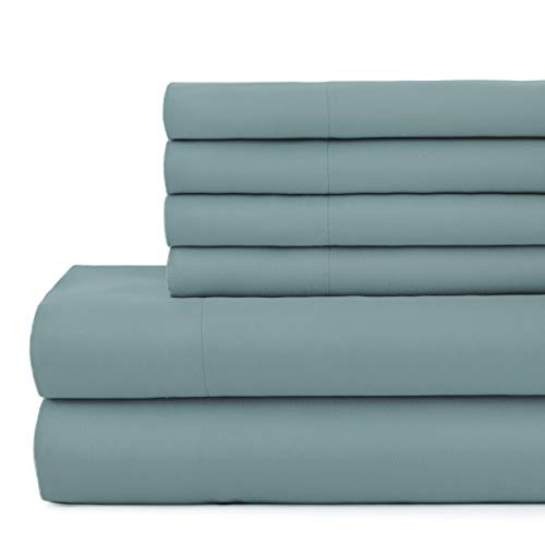 Vilano Springs, 6-Piece, 21-Inch Extra Deep Pocket Sheet Set, Premium Quality, Easy Care, Shrinkage Free Sheet Set with 1 Flat Sheet, 1 Fitted Sheet, 4 Pillowcases, Steel Blue, King