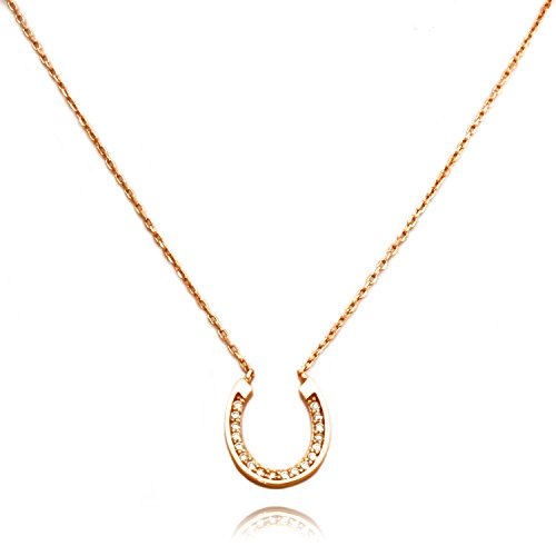 TIONEER 14K Rose Gold Plated Sterling Silver Small Horseshoe Charm Necklace, 16 Inches (+2