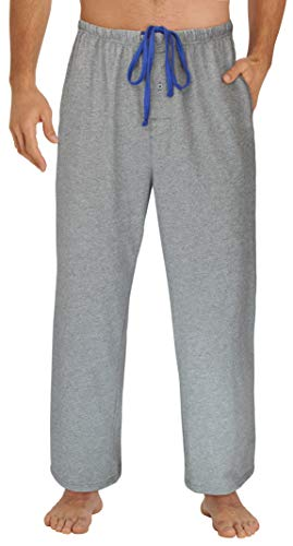 EVERDREAM Sleepwear Mens Jersey Knit Pajama Pants, Long Pj Bottoms,Size Large Grey
