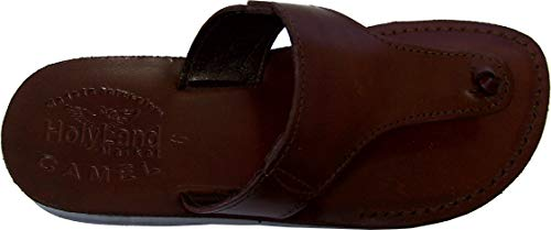 (Holy Land Market Unisex Leather Biblical Flip flops (Jesus - Yashua) Jerusalem Style IV - 49 M EU Brown)