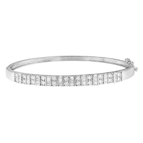 Original Classics 14K White Gold Baguette and Round-Cut Diamonds Bangle (1.20 cttw, H-I Color, I1-I2 Clarity)