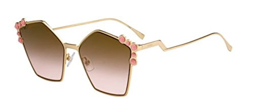 New Fendi Ff 0261/S 000/53 Gold Rose/Brown Sunglasses