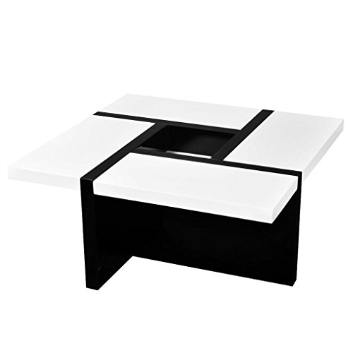 - Square Dining Room TV Stand Cabinets High gloss White And Black Coffee Table/End Table With A Space To Storage 31.5