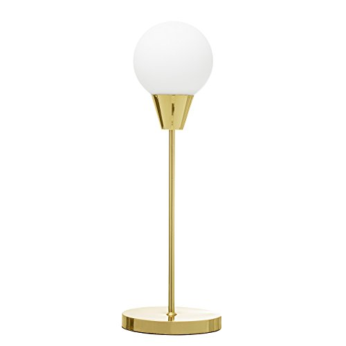 White Opal Finish (Bloomingville A68806438 Metal Table Lamp with Gold Finish & White Opal Glass Shade)