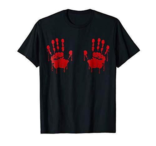 Blood Hand prints on boobs Halloween shirt