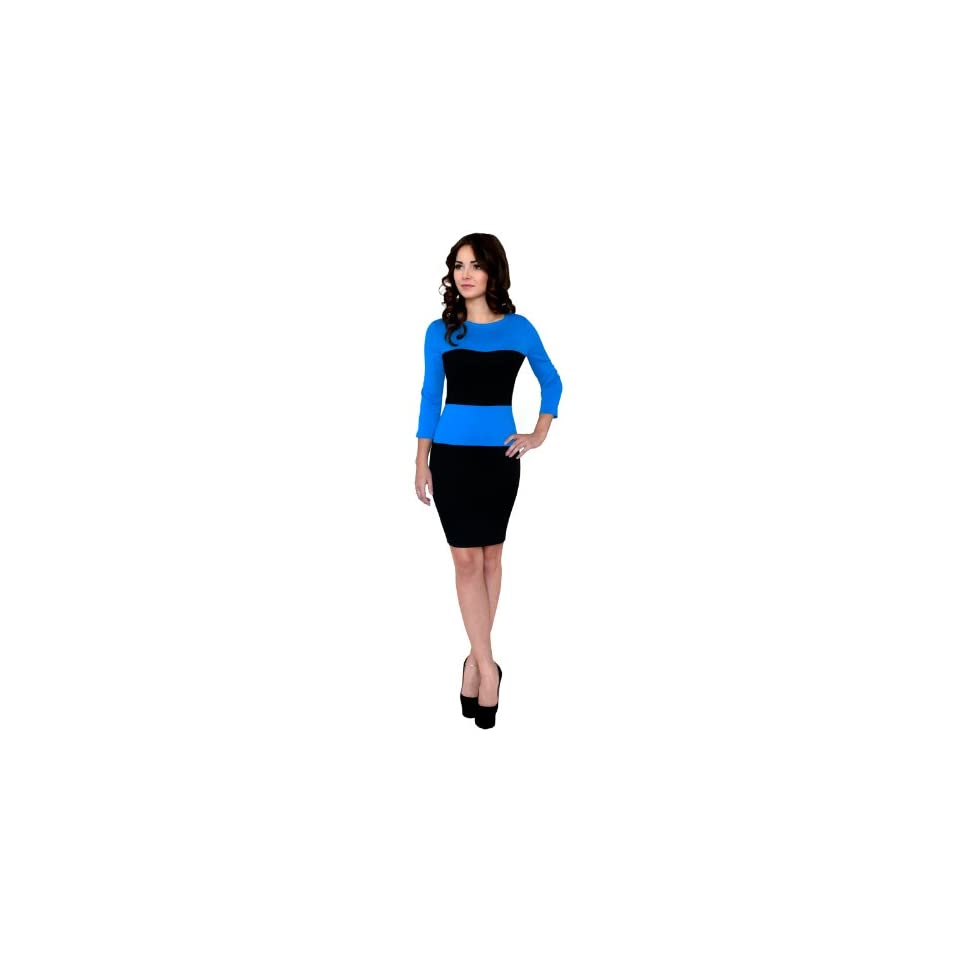 Fancy That Clothing Women's Slimming Effect 3/4 Sleeve Colorblock Dress