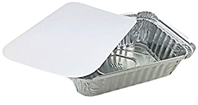 """Pactogo 1 1/2 lb. Oblong Deep Aluminum Foil Take-Out Pan with Board Lid Disposable Containers 7.07"""" x 5.13"""" x 1.69"""""""