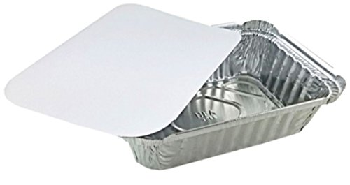 (Pactogo 1 1/2 lb. Disposable Oblong Aluminum Foil Take-Out Pan with Board Lid Containers 7.07