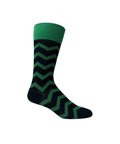Love Sock Company Men's organic cotton navy blue striped dress socks. Zig Zag. (blue)