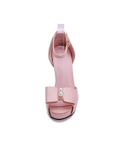 Kvinners Materiale Solide Allhqfashion Hæler Peep Høye Mykt Spenne Toe Sandaler Rosa dXqFqwT