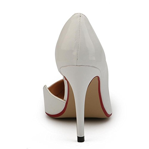 Punta Estrecha rojo De Casual Mujer White Stiletto Pu blanco Heels L Heel Comfort yc negro Zapatos Para Fall Spring q4wEE7PxZ