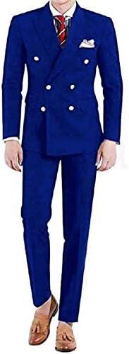 メンズツーピースクラシックフィットオフィスダブルブレストスーツジャケット&パンツセット