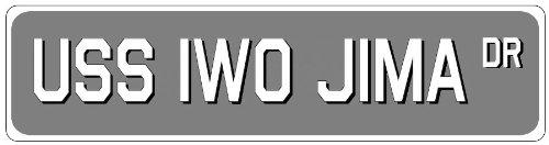 USS IWO JIMA Street Sign - Aluminum Navy Ship Signs - 6 x 24 Inches