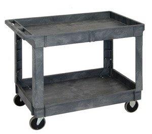 "Quantum Polymer Industrial Mobile Plastic Service Cart 40"" x 26"" x 32-1/2"" - Gray - 2 Shelves"