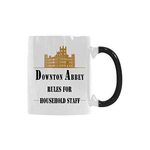 WECE Surprise Gift Color Changing Coffee Mug Downton Abbey Rules for Household Staff Mug Funny Magic Heat Morphing Cup -11 ounce]()