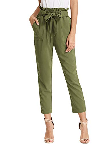 KANCY KOLE Women's Ankle Trousers Cropped Office Pants Pleated High Waist Pants with Belt (Army Green,XL)