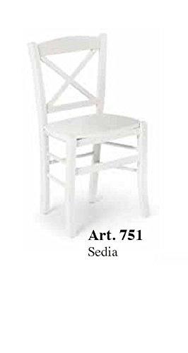 CLASSICO set 2 sedie Shabby Chic bianca schienale incrociato e ...