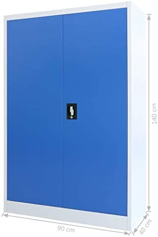Festnight Armadio Archivio Documenti per Ufficio in Metallo,Armadio Schedario Ufficio,Armadio per Ufficio in Metallo 90x40x140 cm Grigio e Blu