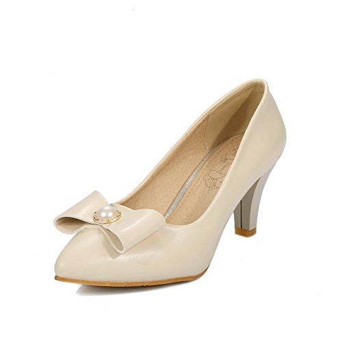 AllhqFashion Damen Rein Mittler Absatz Ziehen auf Spitz Zehe Pumps Schuhe Cremefarben