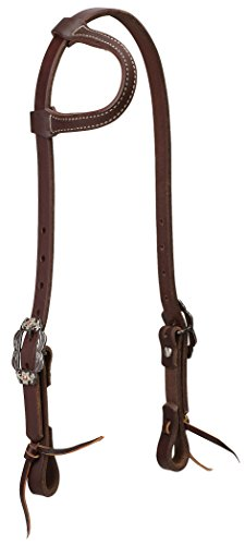 Weaver Leather Working Tack Sliding Ear Headstall with Buffed Brown Iron Hardware