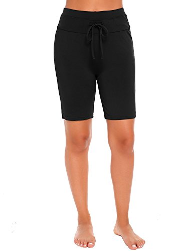 Yealsha Women's Soft Stretch Board Shorts Above Knee Swim Beach Bottoms, Black (Board Womens Above)