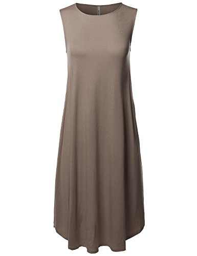 Made by Emma Casual Solid Viscose Sleeveless Round Neck Loose Fit Midi Dress Mocha XL