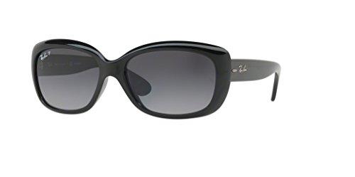 (Ray-Ban RB4101 JACKIE OHH 601/T3 58M Shiny Black/Grey Gradient Dark Grey Polarized Sunglasses For)